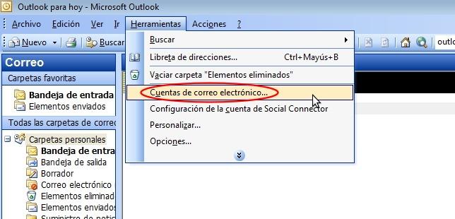 Cuentas de correo Outlook 2003