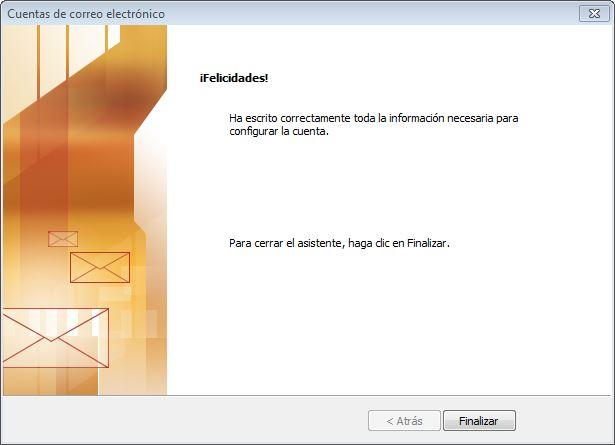 finalizar configuracion Outlook 2003